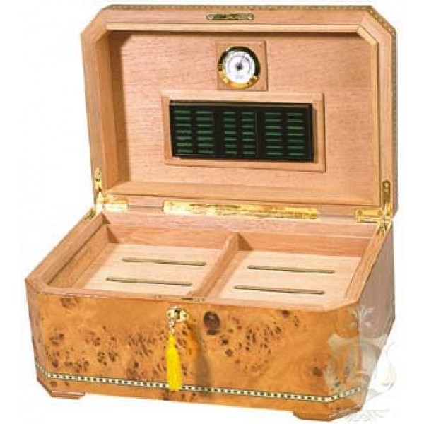 CAMBRIA - Up to 100-Cigar Capacity - Burl Inlay Humidor