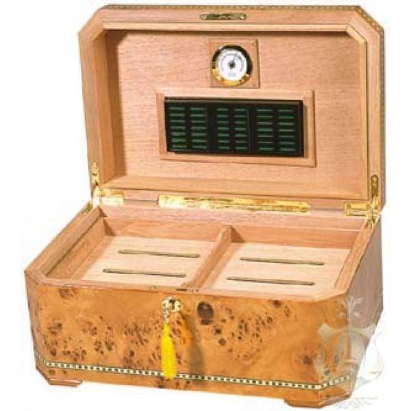CAMBRIA - Up to 100-Cigar Capacity - Burl Inlay Humidor