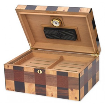 OTHELLO - Up to 100-Cigar Capacity - Hi Lacquer Checkerboard Inlay