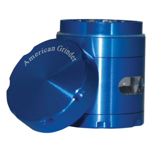 "TOBACCO GRINDER 1.5"" BLUE 4-PIECE W/CHAMBER WINDOW"