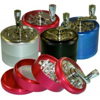 TOBACCO GRINDER 4-PART WITH HANDLE - 2.5""